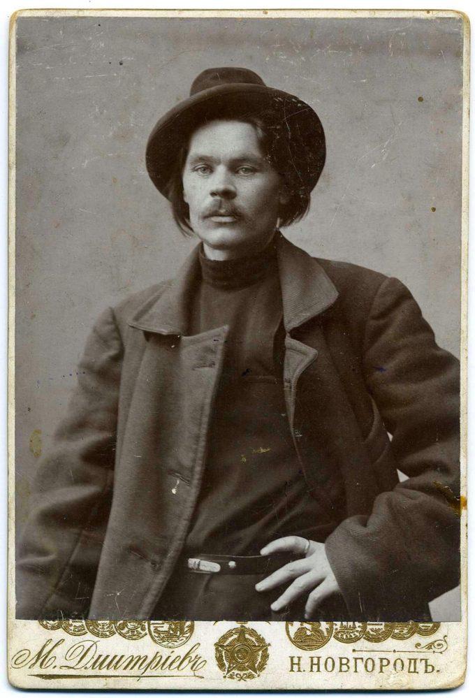 Фотография М.П.Дмитриева. А.М.Горький 1902 г. Нижний Новгород , сепия 16х11 см.