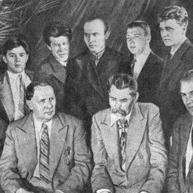 Фото  «А.М. Горький и А.Н. Толстой среди татарских писателей, делегатов Первого Всесоюзного съезда советских писателей. Москва. 1934