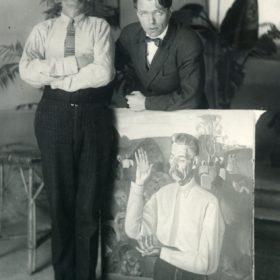 Фото. А.М. Горький и художник Б.Д.Григорьев