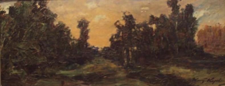 Картина К. А. Коровина «Закат в лесу», холст, масло.
