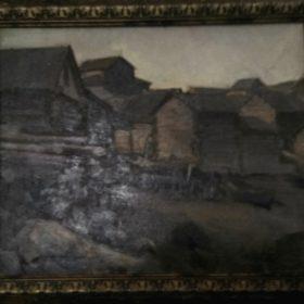 Картина Н. А. Клодта «Избы. Север», хост, масло.1904 г.