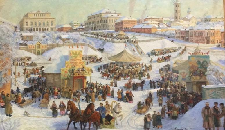 «Масленица в Казани в 1883 году». Ф.Халиков. Холст, масло. Казань, 1996