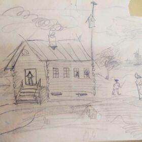 Рисунок Бориса Шаляпина, сына Ф.И.Шаляпина. Бумага, карандаш. 1910-е.
